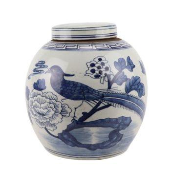 RZGC12-A青花花鸟眀罐储物罐盖罐
