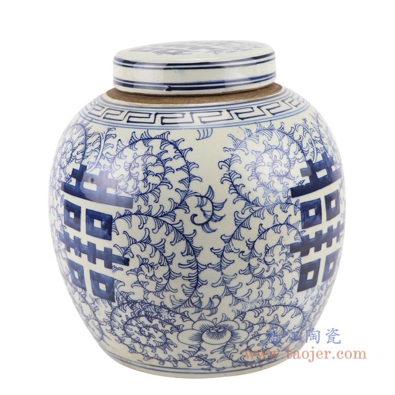 RZGC12-C青花缠枝串花喜字纹眀罐储物罐盖罐侧面