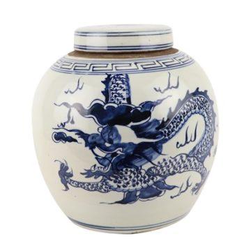 RZGC12-B 青花龙纹眀罐储物罐盖罐