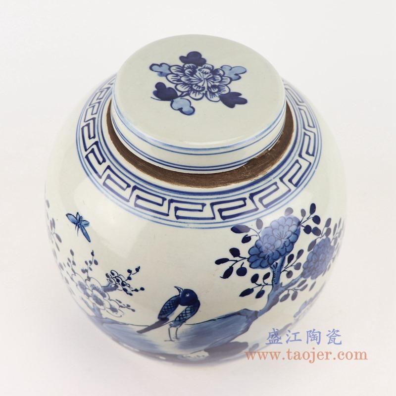 RZGC12-D青花花鸟眀罐储物罐盖罐顶部