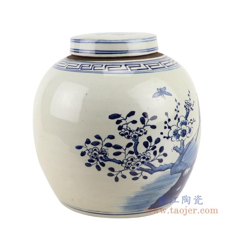 RZGC12-D青花花鸟眀罐储物罐盖罐侧面
