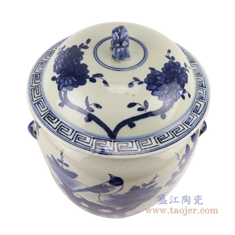 RZGC13青花花鸟狮子头储物罐盖罐顶部