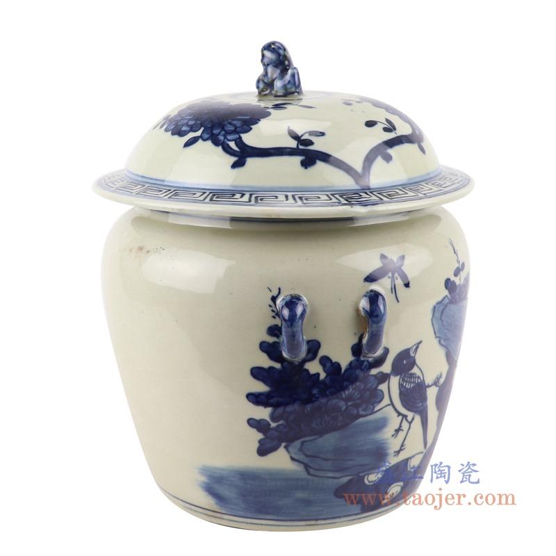 RZGC13青花花鸟狮子头储物罐盖罐侧面