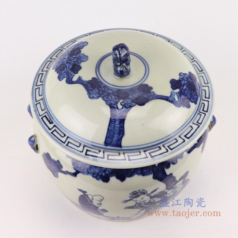 RZGC13-B青花人物狮子头储物罐盖罐顶部
