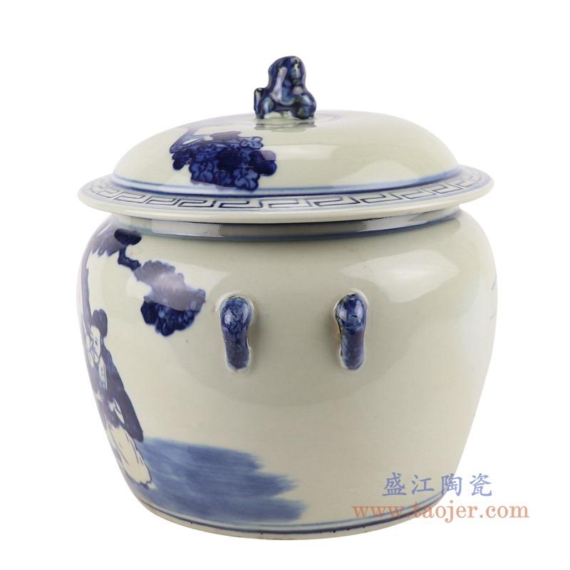 RZGC13-B青花人物狮子头储物罐盖罐侧面