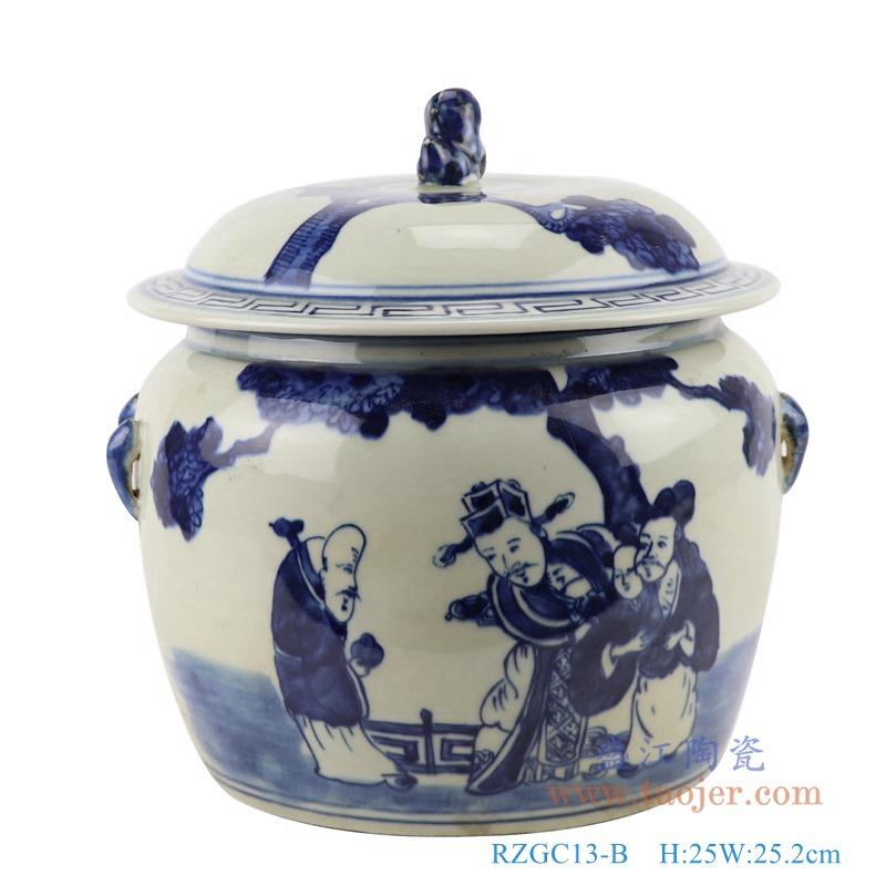 RZGC13-B青花人物狮子头储物罐盖罐正面