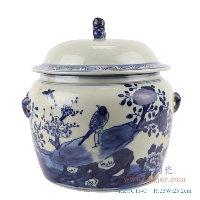 RZGC13-C 青花花鸟狮子头储物罐盖罐正面