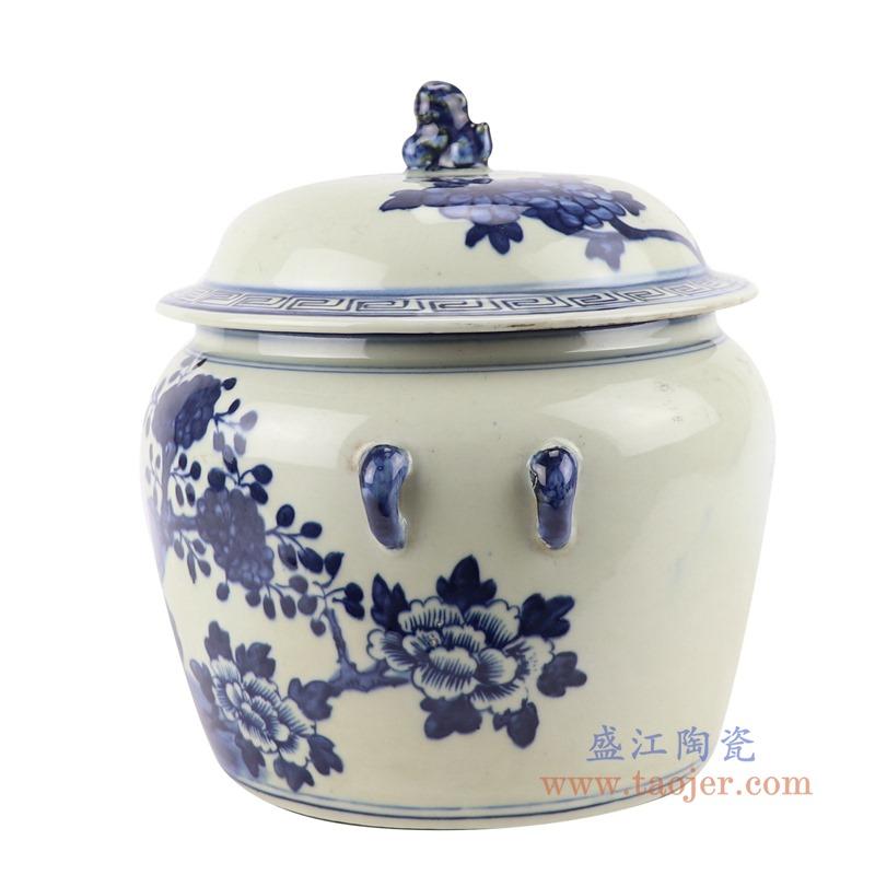 RZGC13-C 青花花鸟狮子头储物罐盖罐侧面