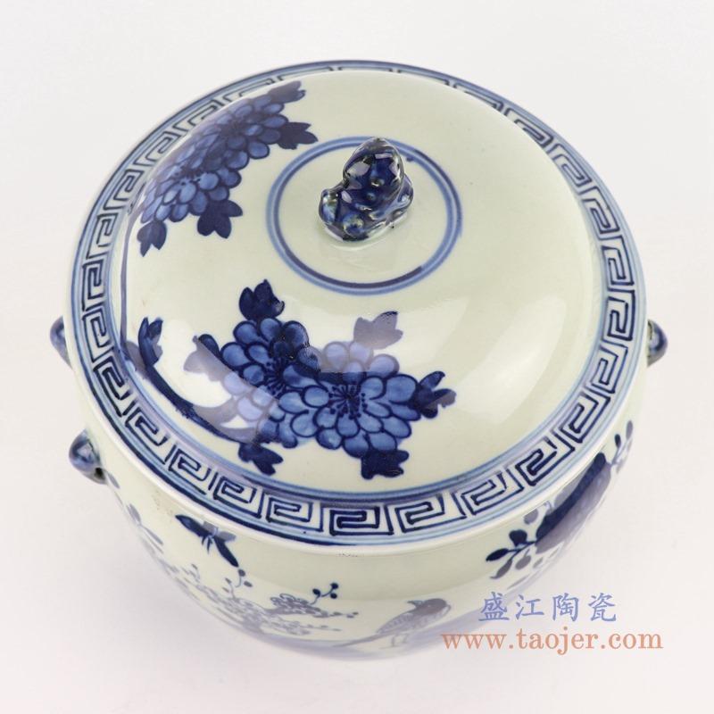 RZGC13-C 青花花鸟狮子头储物罐盖罐顶部