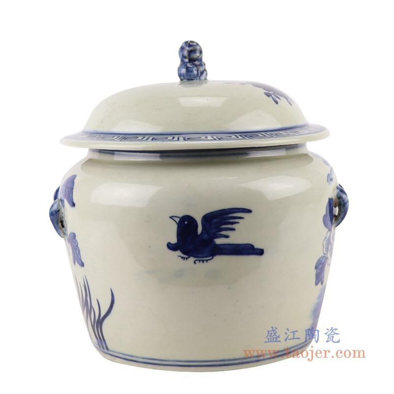 RZGC13-D 青花花鸟狮子头储物罐盖罐背面