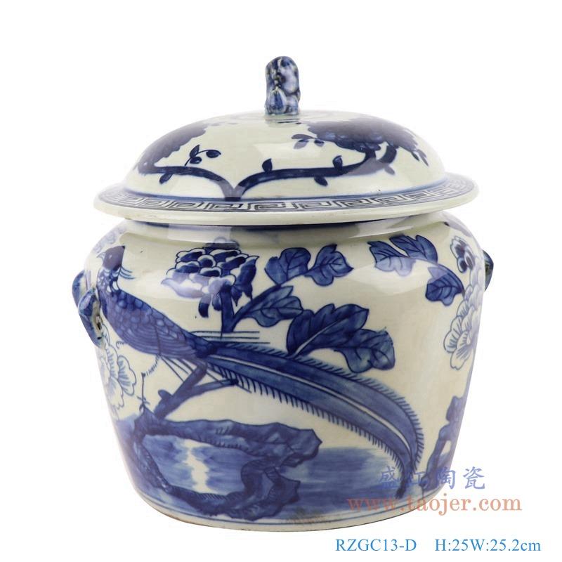 RZGC13-D 青花花鸟狮子头储物罐盖罐正面