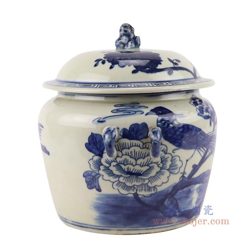 RZGC13-D 青花花鸟狮子头储物罐盖罐侧面