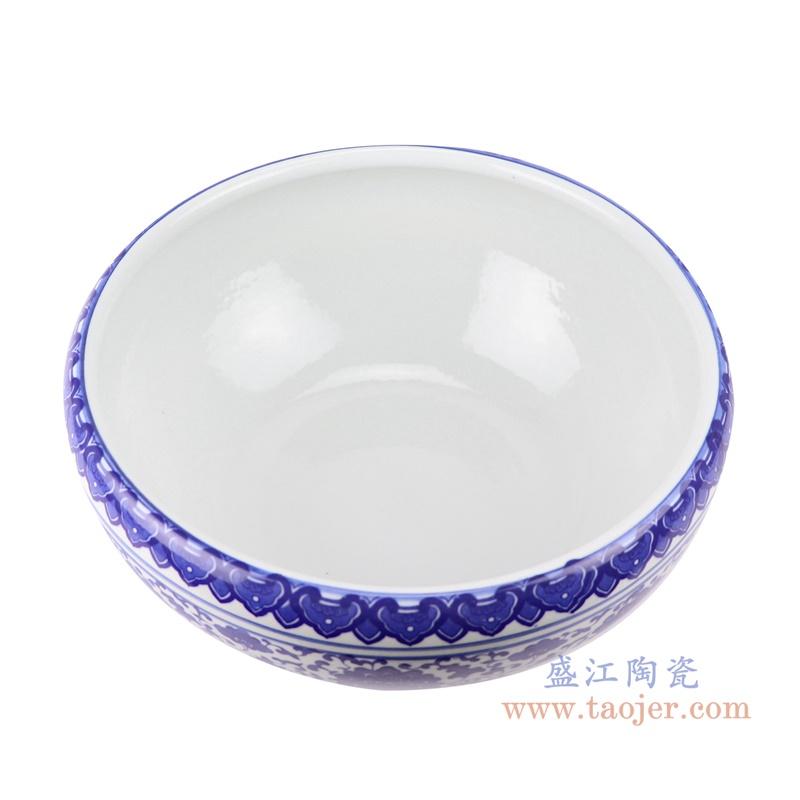 RZSU01-A 鱼缸大号青花养金鱼缸睡莲荷花顶部