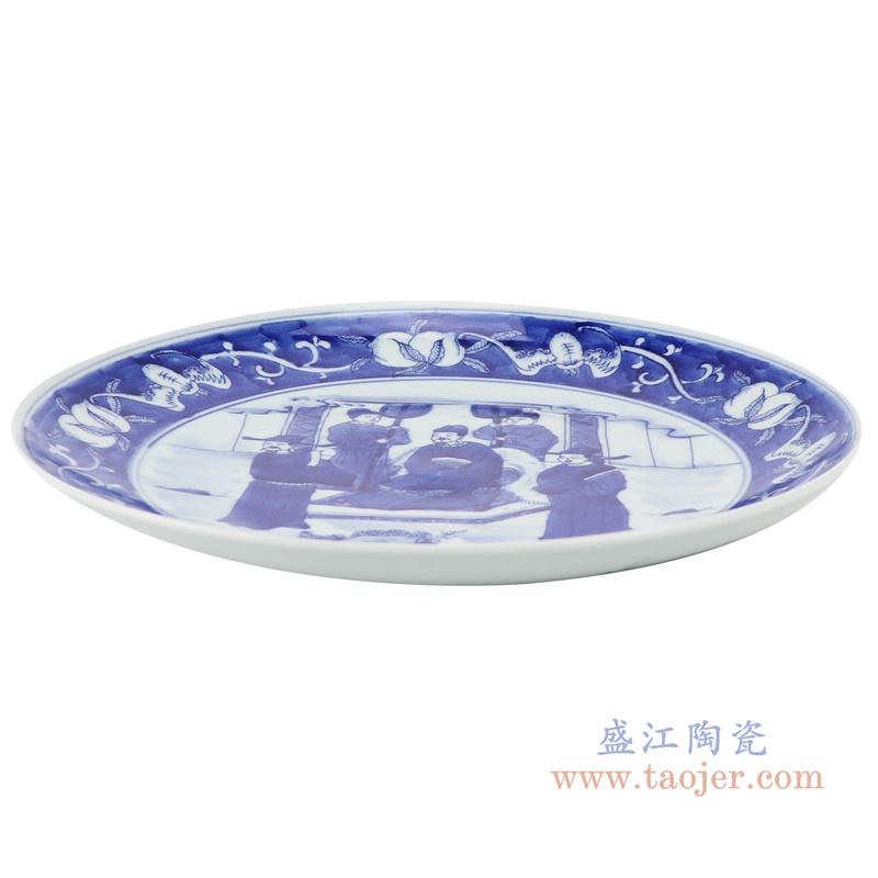 RZNX04-B青花瓷水浅蓝瓷米饭碗仿古百官细节侧面