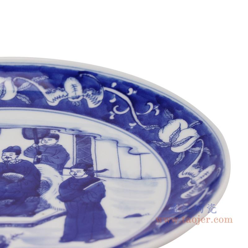 RZNX04-B青花瓷水浅蓝瓷米饭碗仿古百官细节