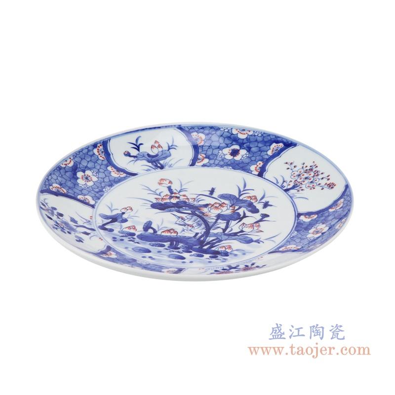 RZNX04-C  青花瓷碗蓝瓷水浅仿古荷花百花图侧面