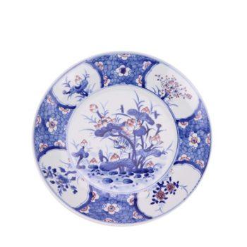 RZNX04-C  青花瓷碗蓝瓷水浅仿古荷花百花图