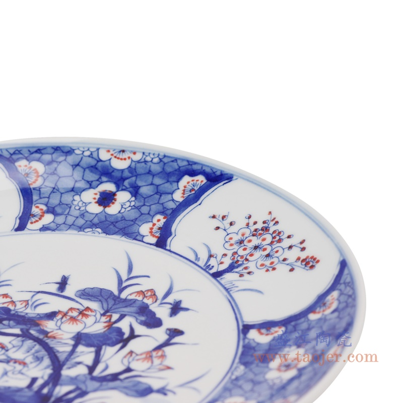 RZNX04-C  青花瓷碗蓝瓷水浅仿古荷花百花图细节