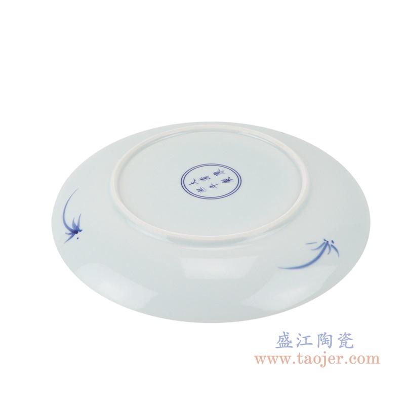 RZNX04-D青花瓷碗蓝瓷水浅仿古龙纹百花图底部