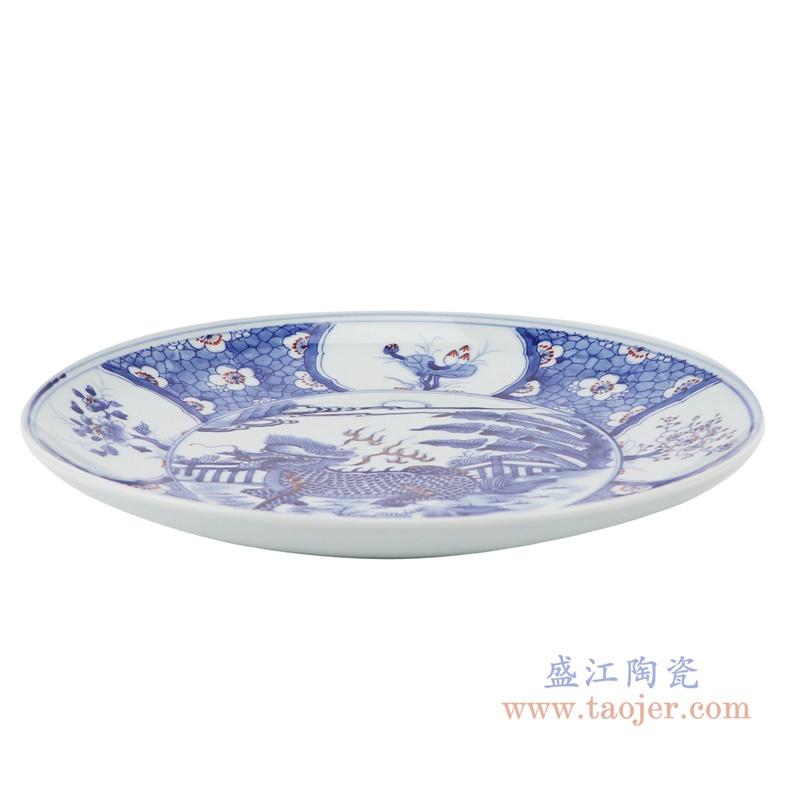 RZNX04-D青花瓷碗蓝瓷水浅仿古龙纹百花图侧面