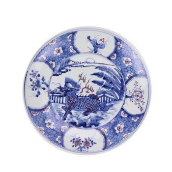 RZNX04-D青花瓷碗蓝瓷水浅仿古龙纹百花图