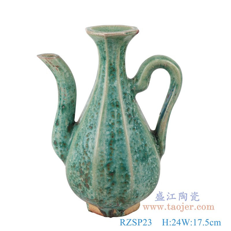 RZSP23 仿古窑变绿釉八方八面水壶酒壶正面