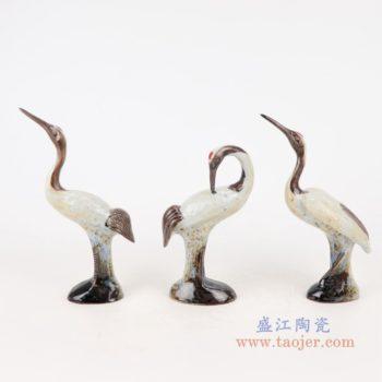 RZSM01-A 颜色釉窑变釉雕刻雕塑单羽仙鹤