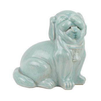 RZQW08 颜色釉影青釉狗雕刻雕塑蹲坐狗