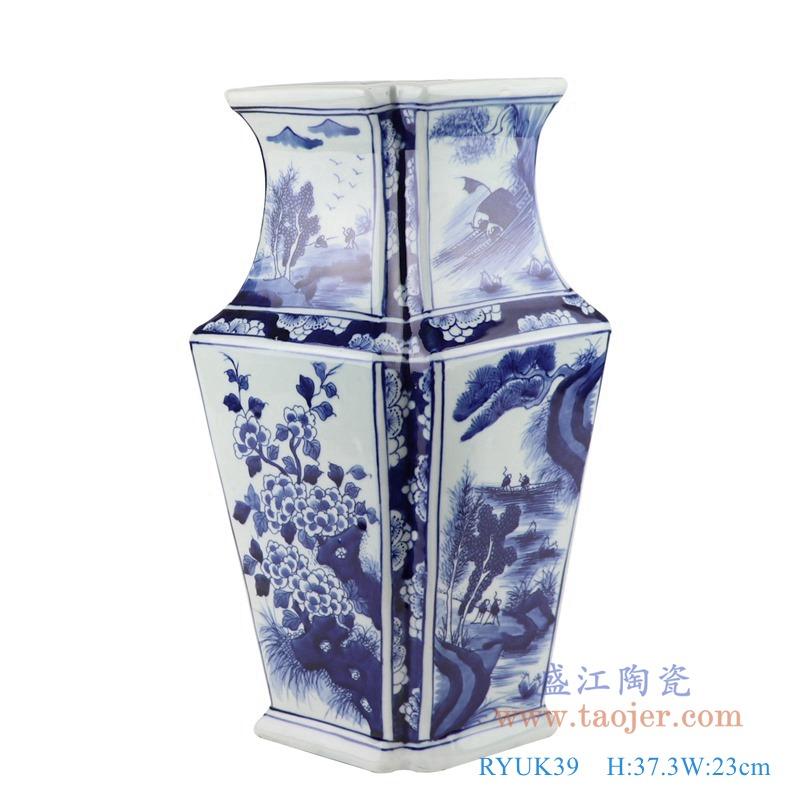 RYUK39青花花鸟菱形花瓶异形花瓶正面
