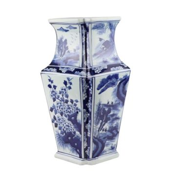RYUK39青花花鸟菱形花瓶异形花瓶