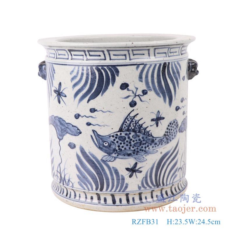 RZFB31青花鱼草鱼藻纹狮子头直筒小缸正面