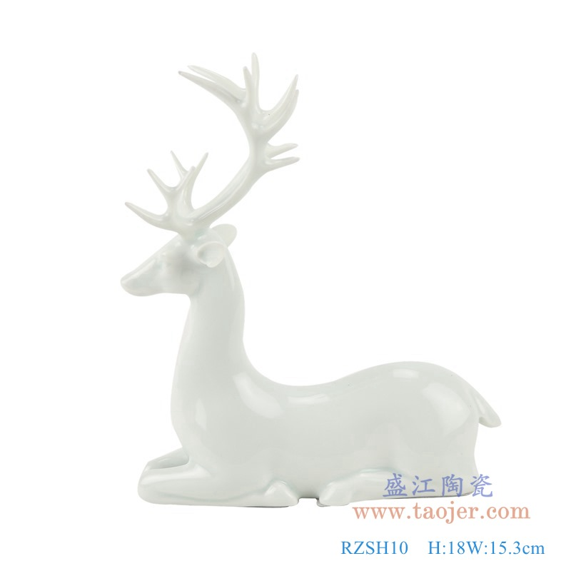 RZSH10 白色蹲坐跪坐小鹿雕刻雕塑侧面
