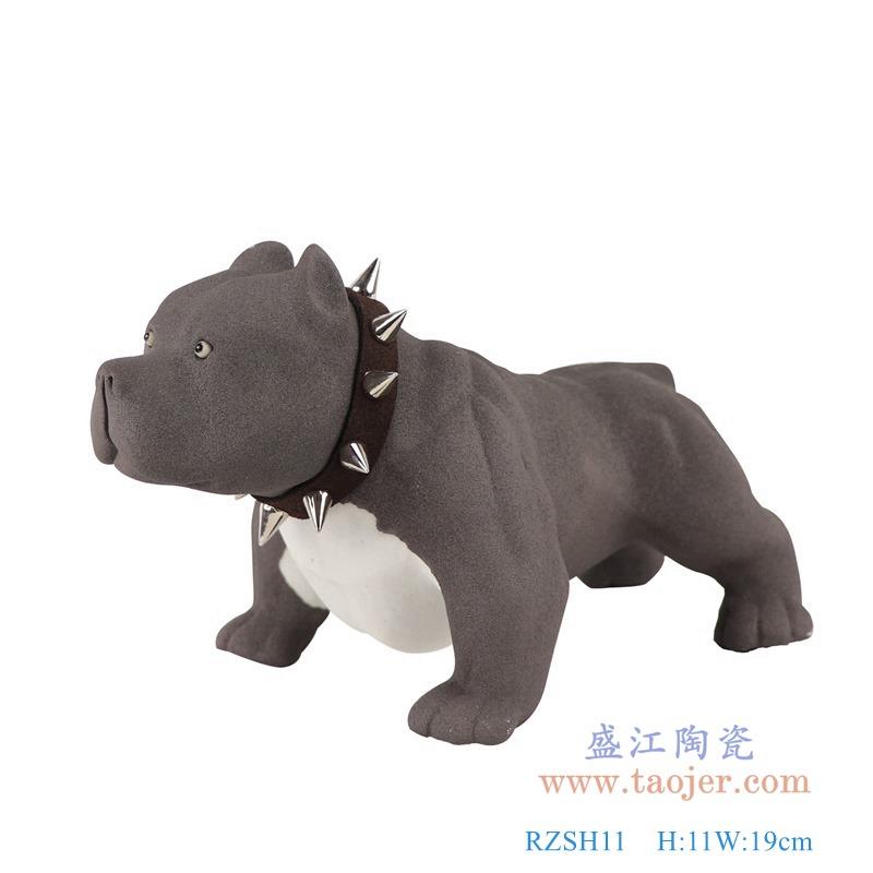 RZSH11黑色哈巴狗小狗雕刻雕塑侧面