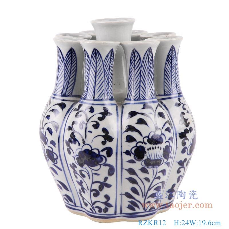 RZKR12青花多口玉壶春瓶异形花瓶正面