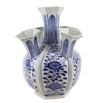 RZKR13  青花多口六方赏瓶异形花瓶