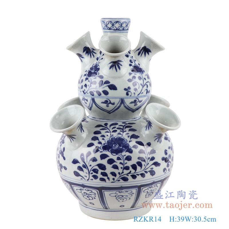 RZKR14 青花多口葫芦瓶异形花瓶正面