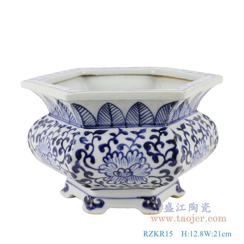 RZKR15青花八方八面缠枝莲异形香炉花盆正面