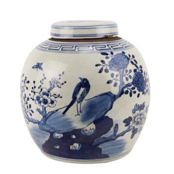 RZGC12-D青花花鸟眀罐储物罐盖罐