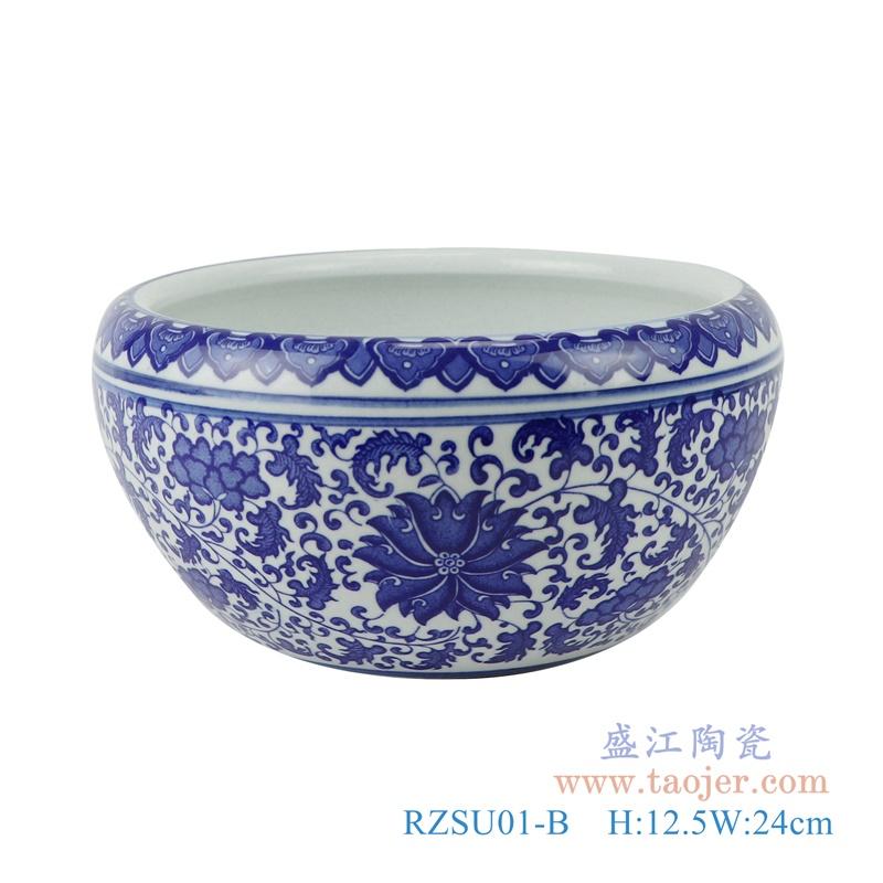 RZSU01-A 鱼缸大号青花养金鱼缸睡莲荷花正面