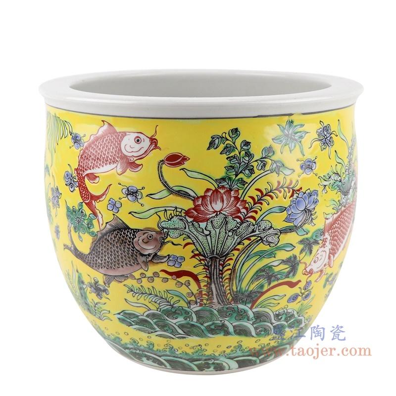 RZJH07-A 黄色鱼缸庭院水缸养鱼泥盆鱼藻纹花盆缸正面