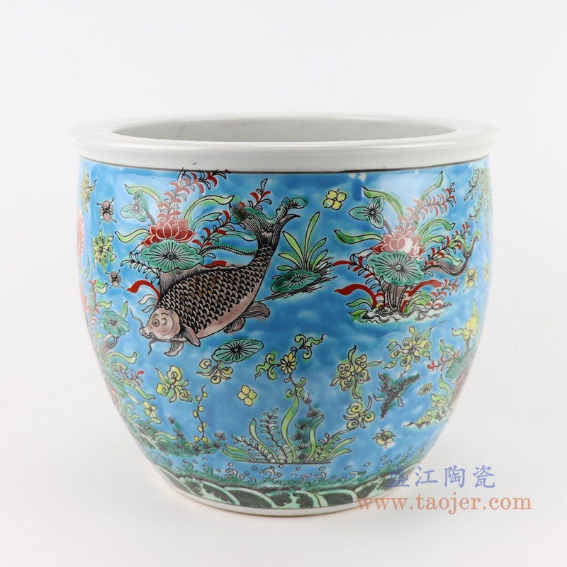 RZJH07-B蓝色鱼缸庭院水缸养鱼泥盆鱼藻纹花盆缸背面