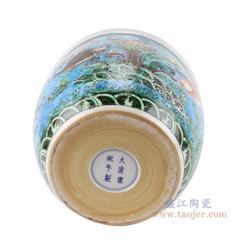 RZJH07-B蓝色鱼缸庭院水缸养鱼泥盆鱼藻纹花盆缸底部