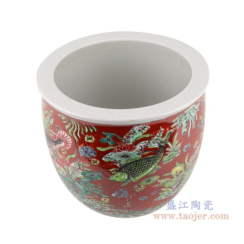 RZJH07-C红色鱼缸庭院水缸养鱼泥盆鱼藻纹花盆缸顶部