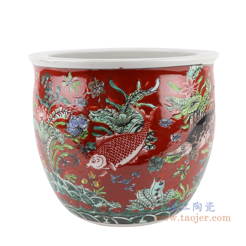 RZJH07-C红色鱼缸庭院水缸养鱼泥盆鱼藻纹花盆缸正面