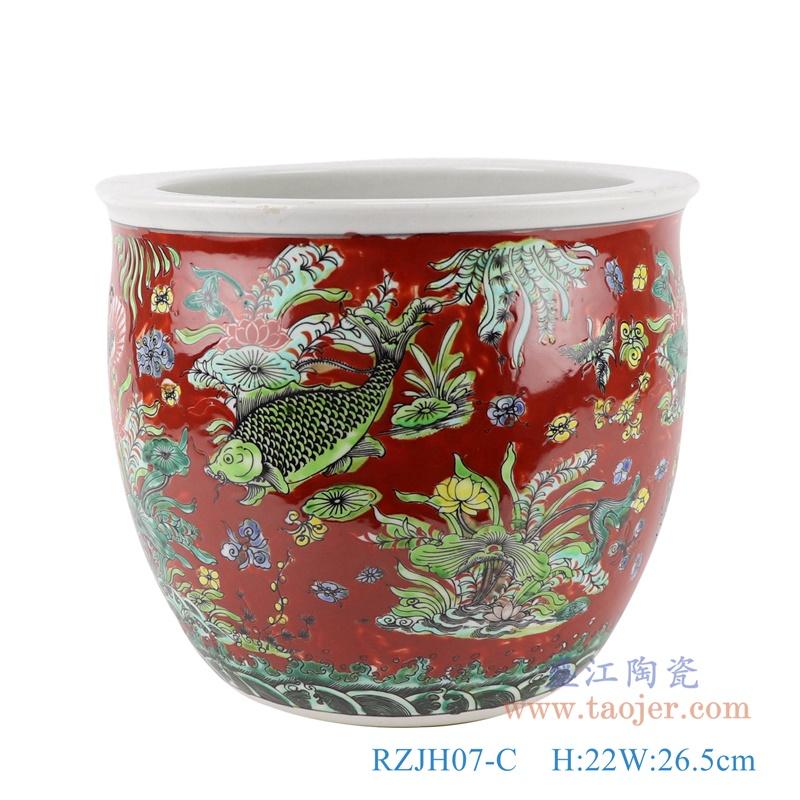 RZJH07-C红色鱼缸庭院水缸养鱼泥盆鱼藻纹花盆缸背面