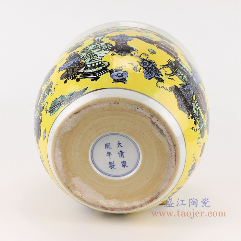 RZJH08-A 粉彩黄色鱼缸水缸养鱼泥盆兰花花盆缸底部