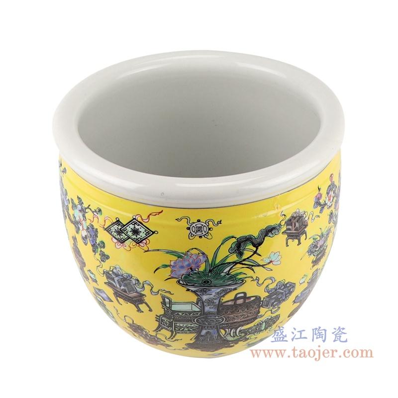 RZJH08-A 粉彩黄色鱼缸水缸养鱼泥盆兰花花盆缸顶部