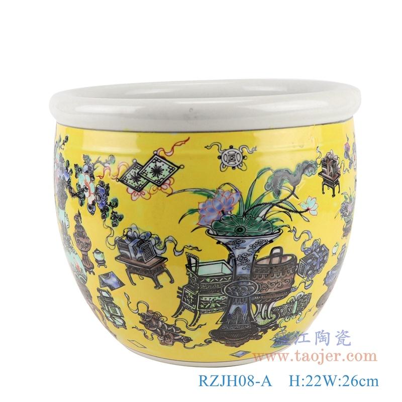 RZJH08-A 粉彩黄色鱼缸水缸养鱼泥盆兰花花盆缸正面