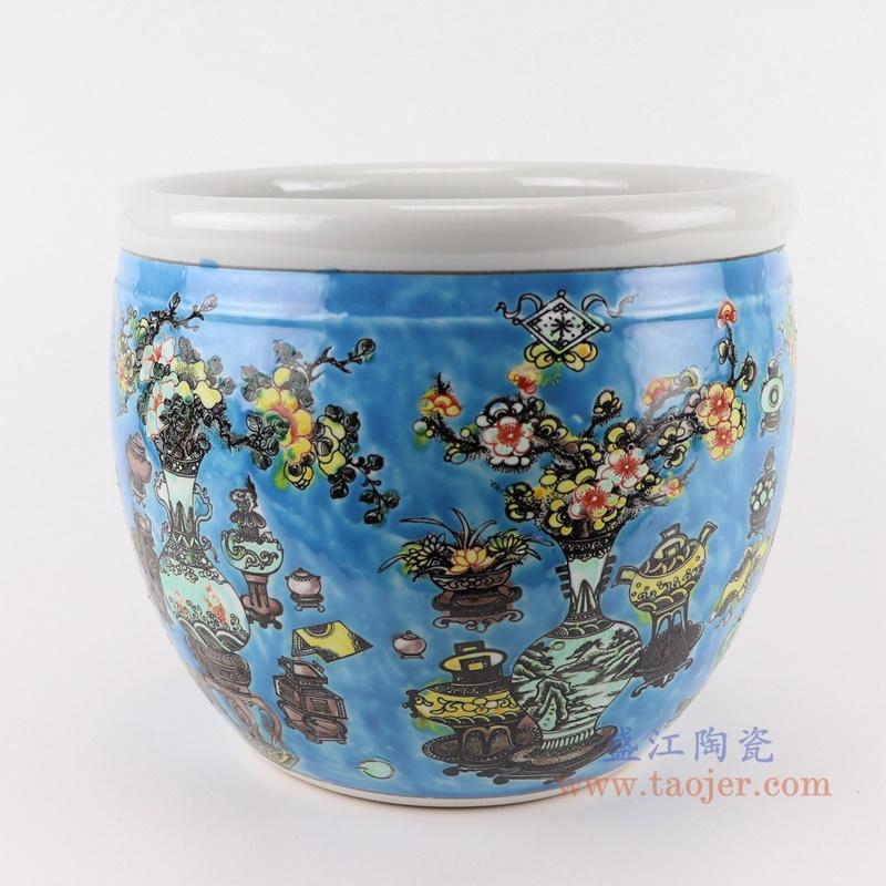 RZJH08-A 粉彩黄色鱼缸水缸养鱼泥盆兰花花盆缸侧面