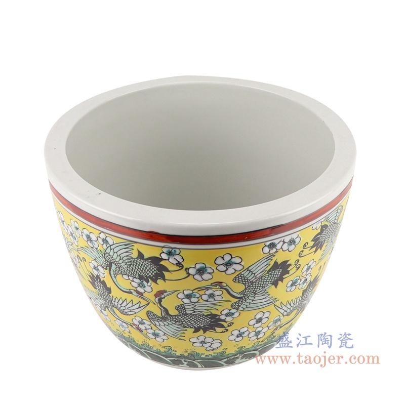RZJH09-A粉彩黄色水缸养鱼泥盆百鹤图干花花盆缸顶部